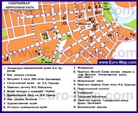 Карта центра Сыктывкара с достопримечательностями