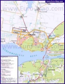 Карта города Тольятти с окрестностями