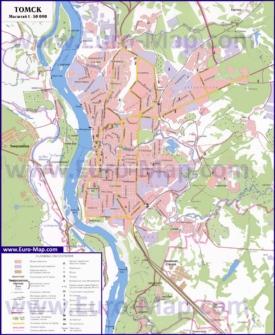 Карта Томска с окрестностями