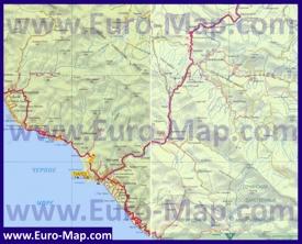 Карта побережья Туапсе с окрестностями