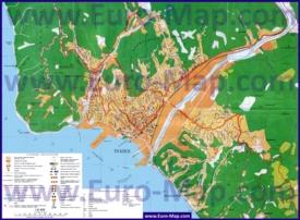 Карта Туапсе с гостиницами, санаториями, пансионатами и достопримечательностями