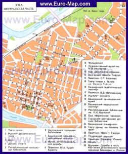 Карта Уфы с достопримечательностями