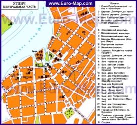 Карта Углича с достопримечательностями