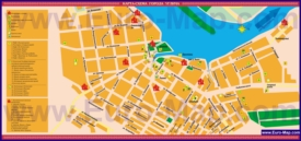 Туристическая карта Углича с гостиницами, достопримечательностями и ресторанами