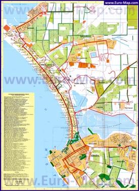 Подробная туристическая карта Витязево с отелями, базами отдыха, пансионатами и гостевыми домами