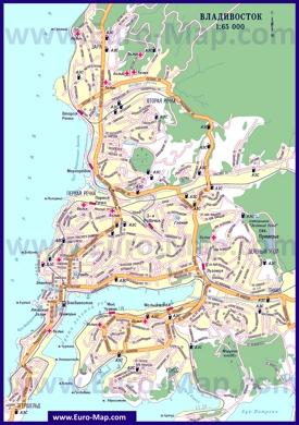 Автомобильная карта дорог Владивостока