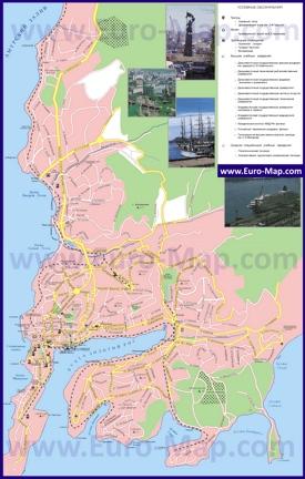 Карта города Владивосток с достопримечательностями