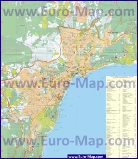 Карта Ялты с пляжами, базами отдыха и пансионатами