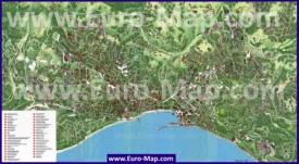 Подробная туристическая карта Ялты с достопримечательностями