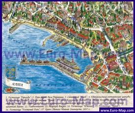 Туристическая карта центра Ялты с достопримечательностями