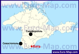 Ялта на карте Крыма