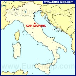 Сан-Марино на карте Италии