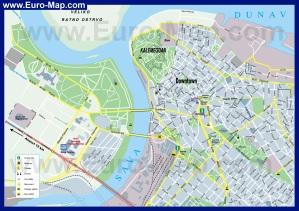 Туристическая карта Белграда с достопримечательностями