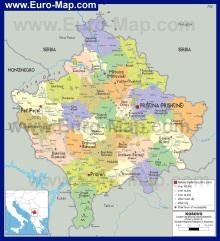 Карта региона Косово - Сербия