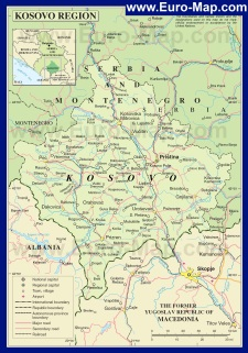 Подробная карта Косово