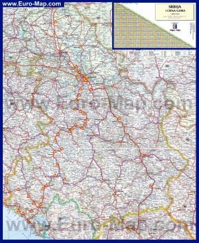 Подробная карта Сербии и Черногории