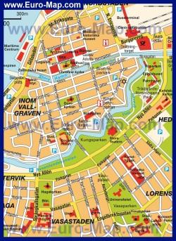 Карта Гётеборга с достопримечательностями