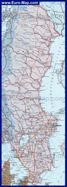 Подробная карта Швеции на русском языке