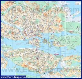Подробная карта Стокгольма с достопримечательностями