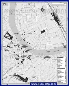 Туристическая карта Базеля с достопримечательностями