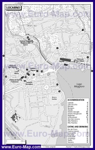 Карта Локарно с отелями и ресторанами