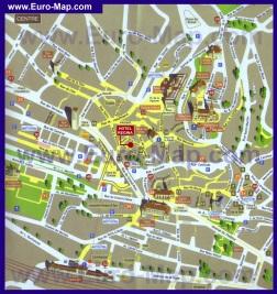 Туристическая карта центра Лозанны с достопримечательностями