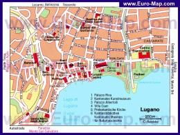 Подробная карта города Лугано с достопримечательностями