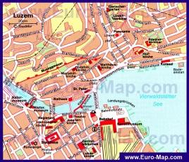 Подробная карта города Люцерн с достопримечательностями