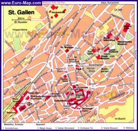 Карта достопримечательностей Санкт-Галлена
