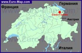 Санкт-Галлен на карте Швейцарии
