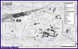 Туристическая карта Санкт-Галлена с отелями и ресторанами