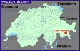 Санкт-Мориц на карте Швейцарии
