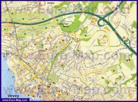 Туристическая карта Веве с достопримечательностями