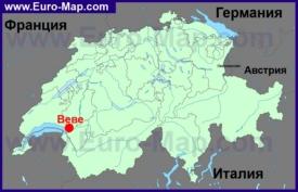 Веве на карте Швейцарии