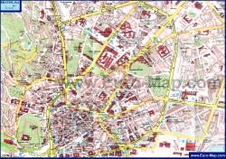 Карта центра Братиславы с достопримечательностями