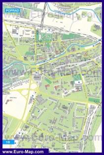 Туристическая карта Попрада с отелями