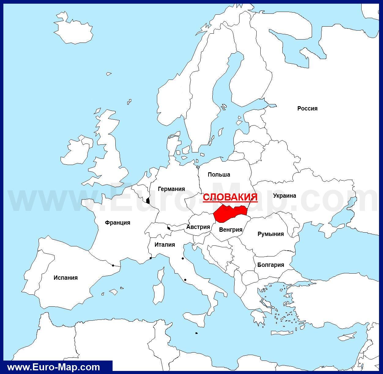 Словакия на карте европы