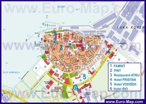 Подробная карта города Копер с отелями