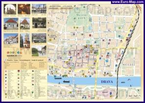 Карта центра Марибора с отелями и достопримечательностями