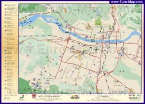 Туристическая карта Марибора с отелями и достопримечательностями