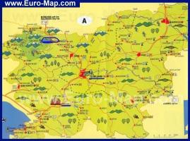 Туристическая карта Словении с курортами