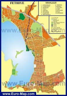 Подробная карта Фетхие