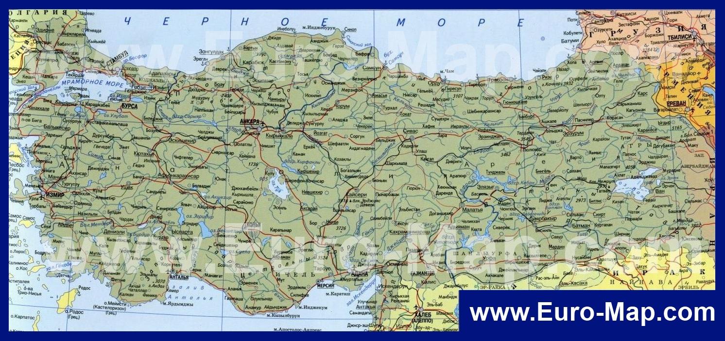 Karty Turcii Podrobnaya Karta Turcii Na Russkom Yazyke S Kurortami