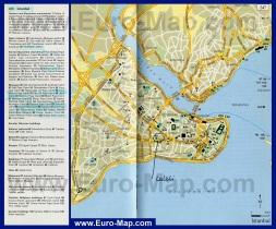 Карта центра города Стамбул с достопримечательностями