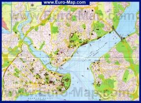Подробная карта Стамбула с достопримечательностями