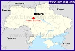 Белая Церковь на карте Украины