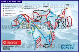 Карта горнолыжного курорта Буковель со склонами и спусками