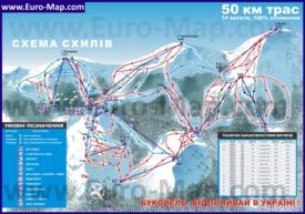 Подробная карта горнолыжного курорта Буковель с трассами