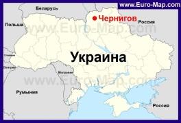 Чернигов на карте Украины