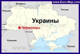 Черновцы на карте Украины